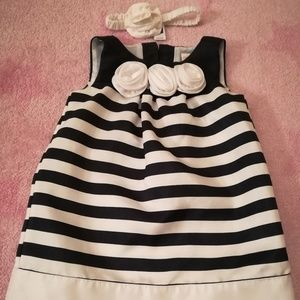Navy Blue & White Stripped Dress & Headband